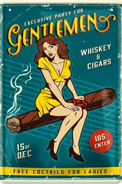 Blechschild Gentlemen - Pin Up Girl