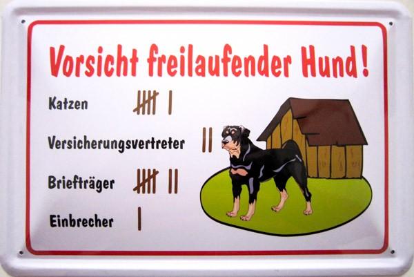 Blechschild Vorsicht freilaufender Hund