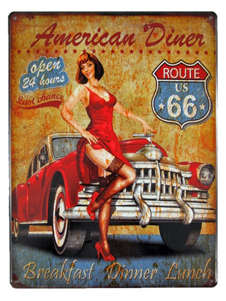 Blechschild Route 66 American Diner Pin Up Girl