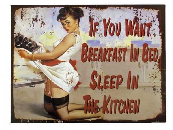 Blechschild Breakfast in Bed Pin Up Girl