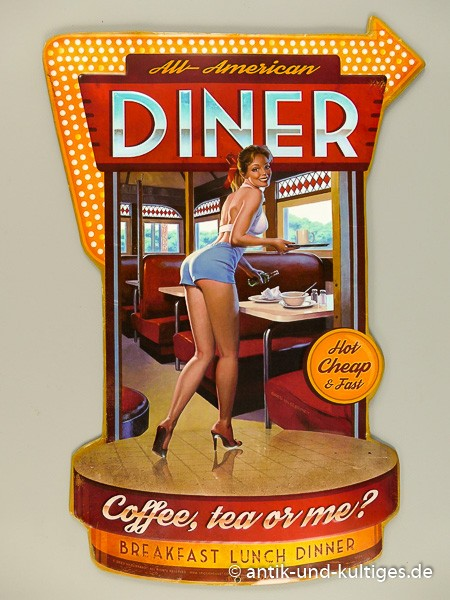 Blechschild Diner mit Pin Up Girl