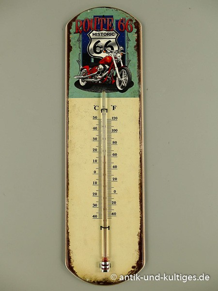 Blechschild mit Thermometer - Route 66