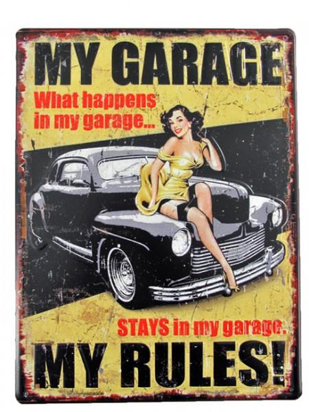 Blechschild My Garage Pin Up Girl