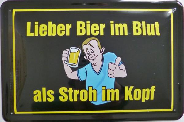 Blechschild Lieber Bier im Blut