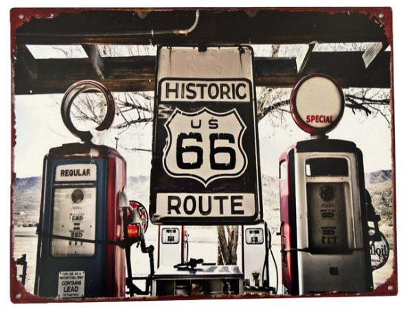 Blechschild Route 66 Tankstelle