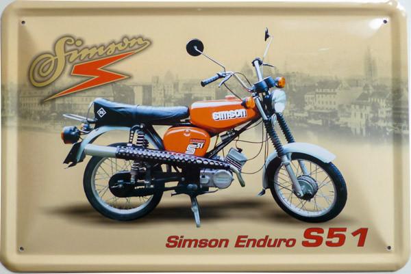 Blechschild Simson S51 Enduro
