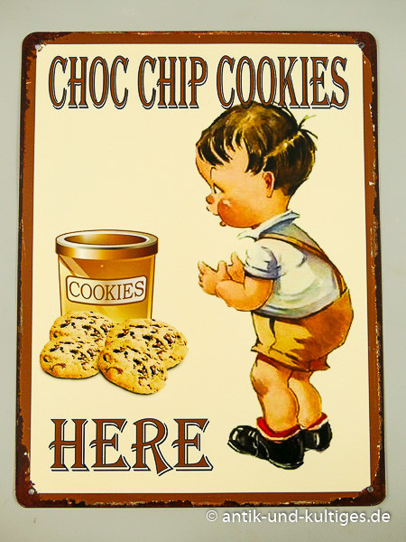 Blechschild Choc Chip Cookies