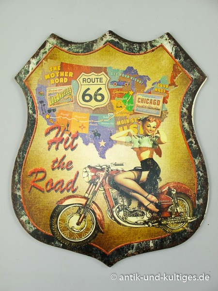 Blechschild Route 66 - Hit The Road - Pin Up Girl