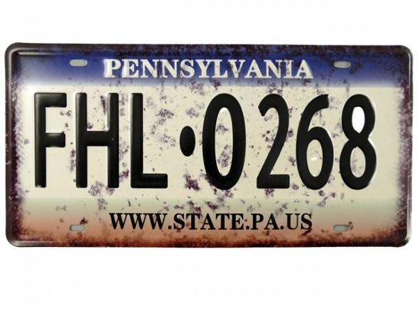 Blechschild Pennsylvania Nummernschild