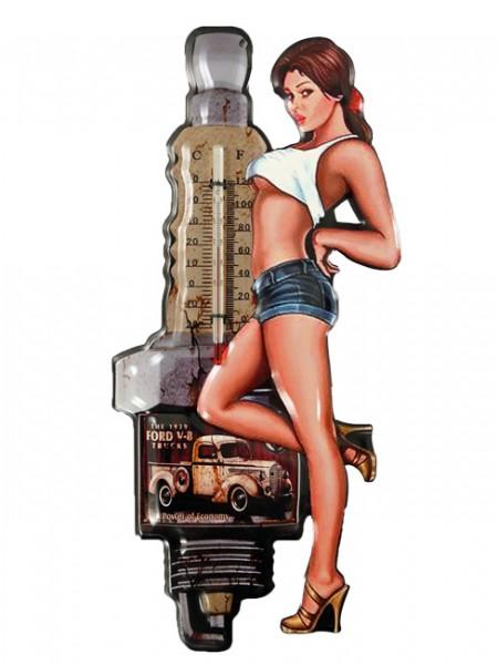 Blechschild mit Thermometer Zündkerze Pin Up Girl