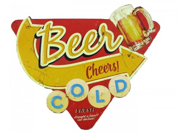 Blechschild Beer Cold