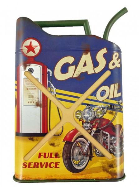 Blechschild Kanister Gas & Oil
