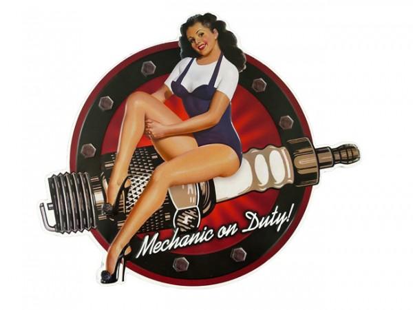 Blechschild Mechanic on Duty Pin Up Girl