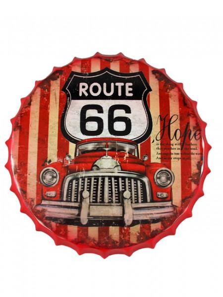 Blechschild Route 66 Auto