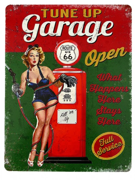 Blechschild Route 66 Tune up Garage Pin Up Girl