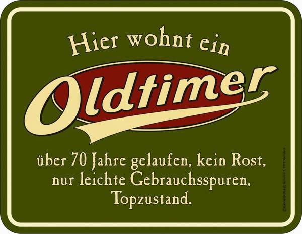 Blechschild Oldtimer Ü 70 - RAHMENLOS® 3861