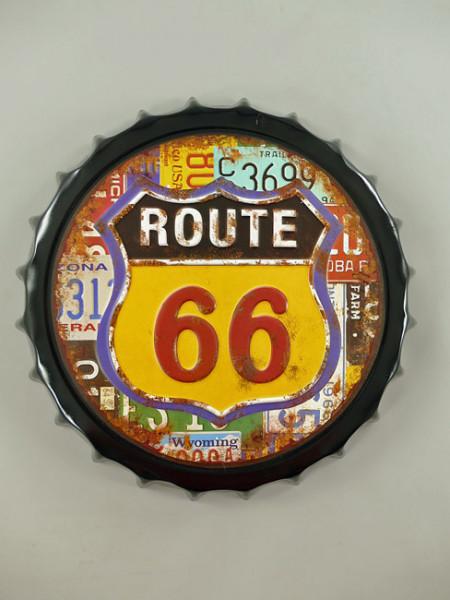 Blechschild Route 66 Kronenkorken