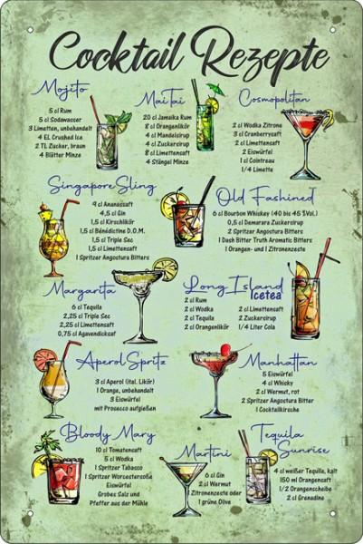 Blechschild Cocktail Rezepte