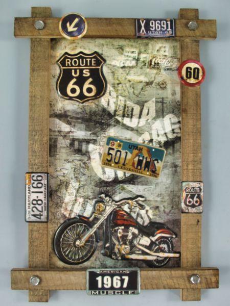 Blechschild Route 66 Motorrad - 59x40 cm