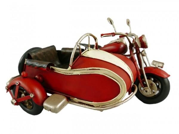 Motorrad mit Beiwagen rot Blechmodell 19 cm