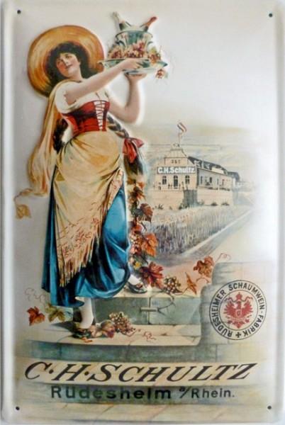 Blechschild C. H. Schultz Schaumwein