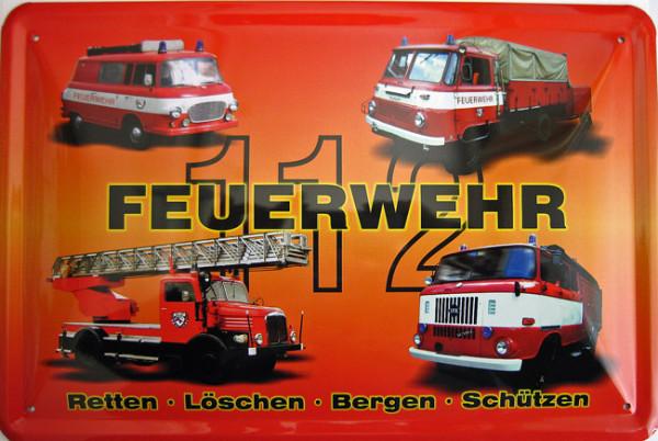 Blechschild Feuerwehr B1000 Robur Leiterwagen W50