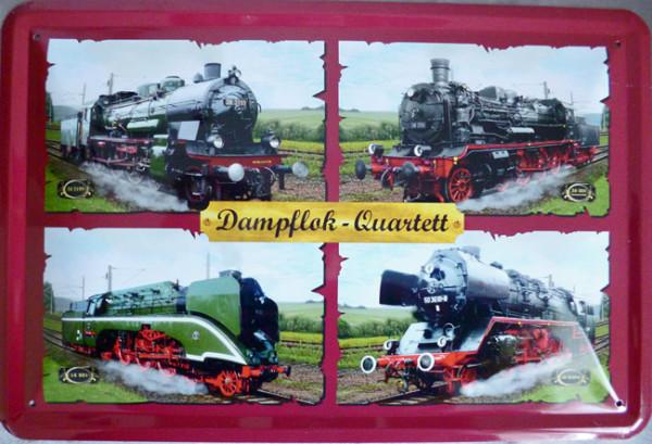 Blechschild Dampflok-Quartett