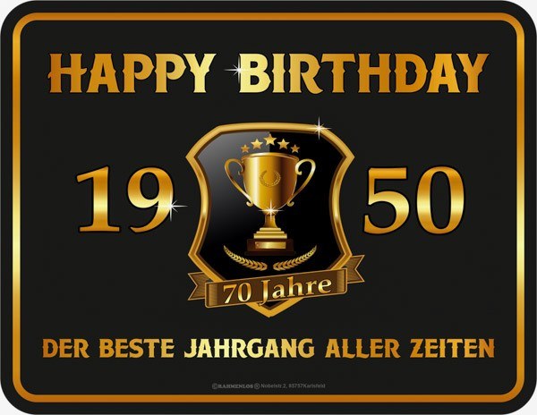 Blechschild Happy Birthday 1950 - RAHMENLOS® 3932