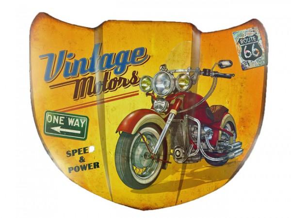 Blechschild Motorhaube Vintage Motors Route 66