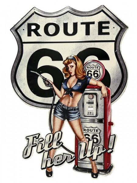 Blechschild Route 66 - Fill her up - Pin Up Girl