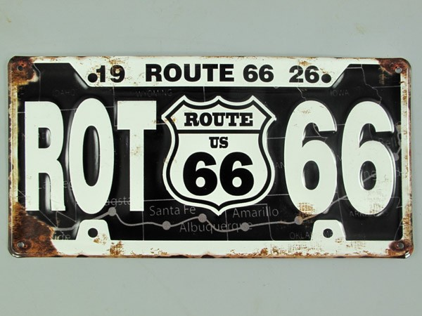 Blechschild Route 66 Nummernschild