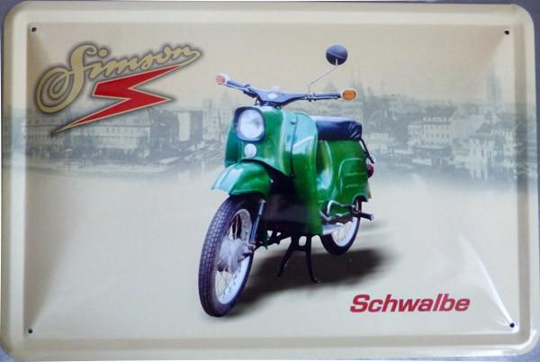 Blechschild Simson Schwalbe grün