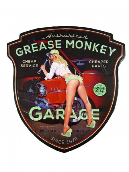Blechschild Grease Monkey Pin Up Girl