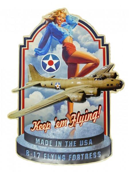 Blechschild B-17 Flying Fortress Pin Up Girl