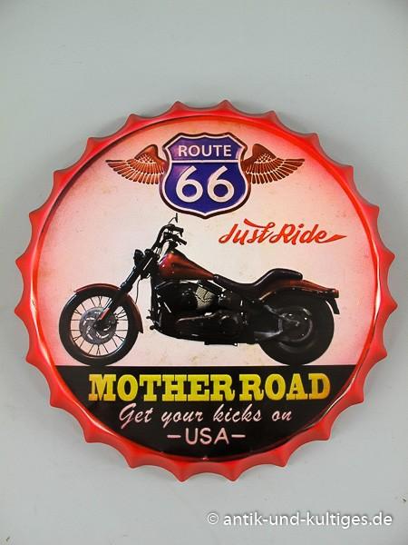 Blechschild Route 66 - Motherroad - Kronenkorken