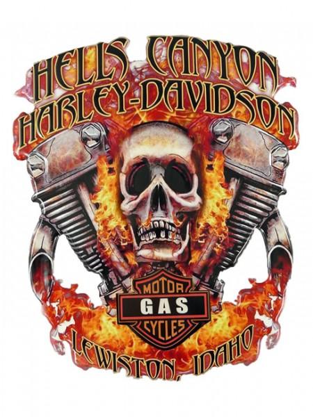 Blechschild Hells Canyon Harley Totenkopf