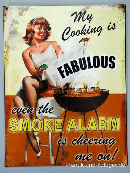 Blechschild Smoke Alarm - Pin Up Girl