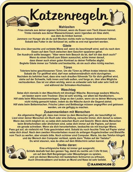Blechschild Katzenregeln - RAHMENLOS® 3417