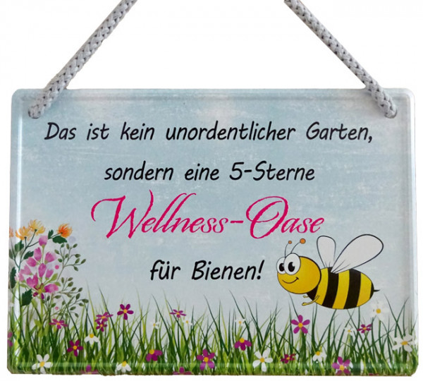 Hängeschild 5-Sterne-Wellness-Oase für Bienen