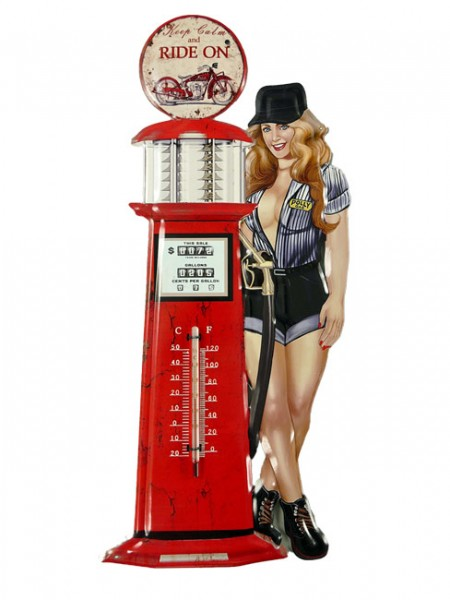 Blechschild mit Thermometer Tankstelle Pin Up Girl Ride On