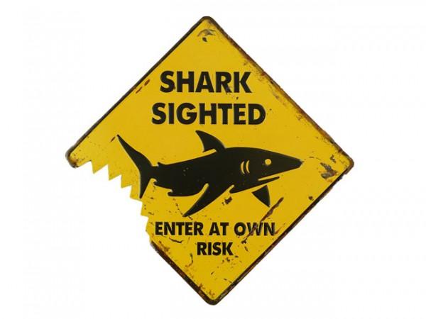 Blechschild Shark Sighted Hai