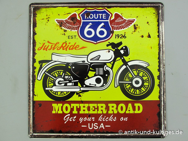 Blechschild Route 66 - Motherroad