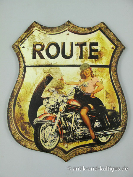 Blechschild Route 66 - Pin Up Girl