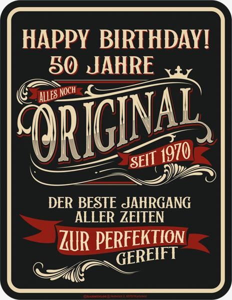 Blechschild Happy Birthday 50 Jahre - RAHMENLOS® 3958
