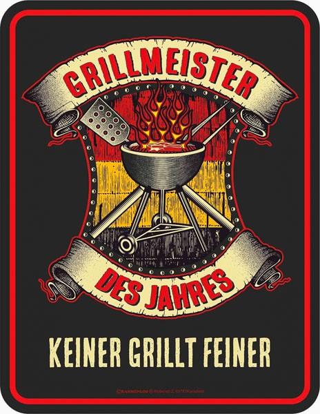 Blechschild Grillmeister des Jahre - RAHMENLOS® 3726