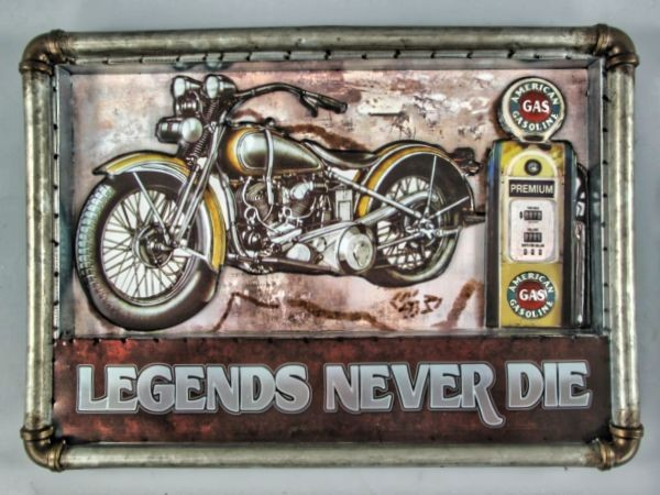 Blechschild Legens never die - 54x38 cm