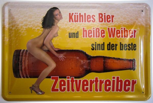 Blechschild Bier und heiße Weiber