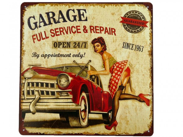 Blechschild Garage Full Service Pin Up Girl