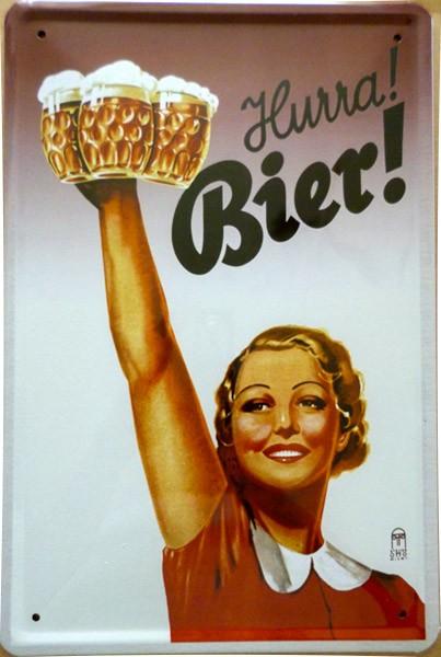 Blechschild Hurra Bier