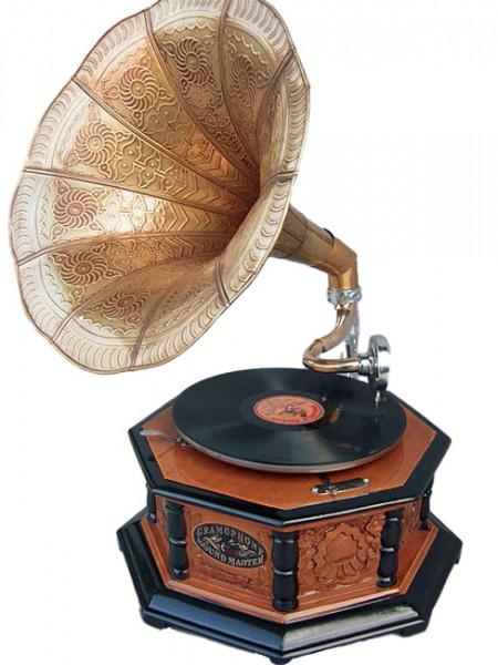 Grammophon Holz braun achteckig
